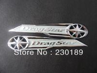 decalques yamaha venda por atacado-5 par / lote Drag Star Classic Cromo Gás Tanque Emblema / Emblema Do Emblema Do Decalque Prata Serve Para Yamaha Vstar XVS XV 400 650 Frete Grátis