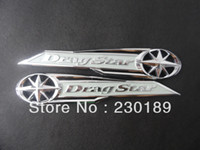 Wholesale Yamaha Tank Decals - 5pair lot Drag Star Classic Chrome Gas Tank Badge Emblem Badge Decal Silver Fits For Yamaha Vstar XVS XV 400 650 Free Shipping