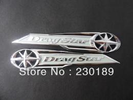 Ingrosso 5 paia / lotto Drag Star Classic Chrome Serbatoio di Gas Distintivo / Distintivo Dell'emblema Della Decalcomania Argento Adatto per Yamaha Vstar XVS XV 400 650 Spedizione Gratuita