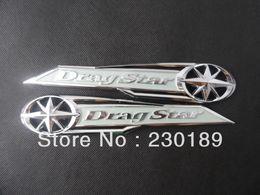2019 serbatoio del gas del motociclo di honda 5pair lot Drag Star Classic Chrome Gas Tank Badge Emblem Badge Decal Silver Fits For Yamaha Vstar XVS XV 400 650 Free Shipping