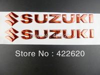 Wholesale Suzuki Gn - RED 3D Soft Gel Fairing Kit Body Fuel Gas Tank Fairing Emblem Decal Sticker For SUZUKI GSXR Boulevard VStrom GN GS500 S Intruder