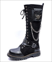Wholesale Goth Heels - Wholesale-Punk Rock MENS BLACK GOTH PUNK ROCK BAND BUCKLE BOOT climbing boots EUO39-45 free shipping
