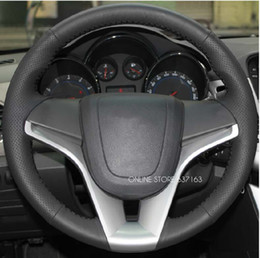 Wholesale Vinyl Sewing - Hight Quality ! For CHEVROLET Cruze leather sew-on steering wheel cover refires auto accessories