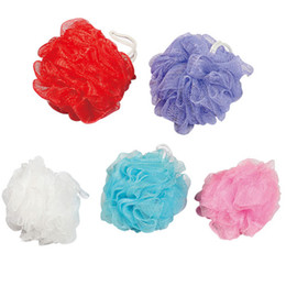 Wholesale Bath Balls Wholesale - Free Shipping (30pcs lot) Mix 4 Color(yellow,green,pink,bule) Large Bath Ball Mesh Bath Sponge Flower Bath Brushes Scrubbers