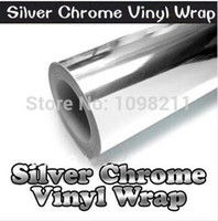 "Wholesale Decal Car Wrap - 100mm x 1520mm silver Chrome Air Bubble Free Mirror Vinyl Wrap Film Sticker Sheet Decal 4""x60"" Car Bike Motor Body Cover"