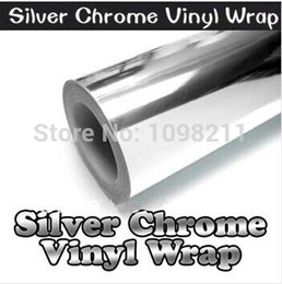 "Wholesale Chrome Stickers - 100mm x 1520mm silver Chrome Air Bubble Free Mirror Vinyl Wrap Film Sticker Sheet Decal 4""x60"" Car Bike Motor Body Cover"