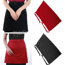 Wholesale Black Bar Apron - Free Shipping Bow Half Waist Pocket Bar Cafe Cooking Waiter Restaurant Kitchen Apron Black Red