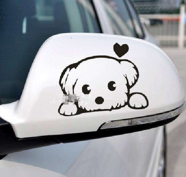 2018 car rearview mirror stickers small cute dog car decal waterproof on rear windshield door sticker from bdauto 19 6 dhgate com