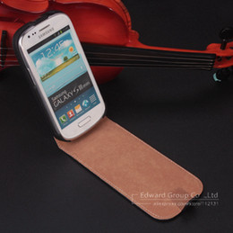 Wholesale S3 Luxury Genuine Leather Case - Wholesale-Luxury Korean Style Genuine Leather Case for Samsung Galaxy S3 Mini i8190 Vertical Up and Down Flip Cover+Free screen Protector