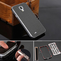 Wholesale S4 Case Carbon Fiber - Wholesale-Black Metal Case For Samsung S4 Aluminum Frame Carbon Fiber Back Cover For Samsung Galaxy S4 i9500 Case Housing Free Shipping