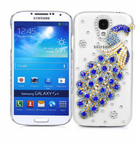 Wholesale Galaxy S4 3d Bling - Wholesale-New 3D Peacock Glitter Bling Cover Case For Samsung Galaxy S4 Mini i9190 Blue