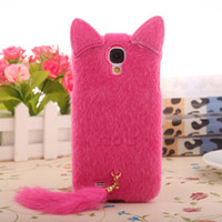 Wholesale Galaxy S Iv 3d Cases - Wholesale-New 3D Elegant fashion Cute Fox Plush Cat Cover Protector Cases for Samsung galaxy S4 i9500 S iV free shipping
