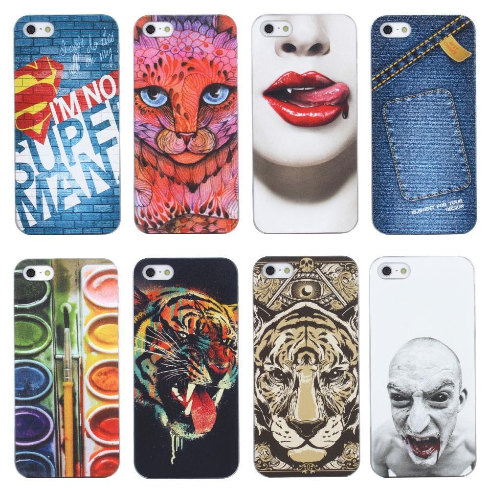 wholesale dealer 215aa 0e1d0 Wholesale-MOQ:1PC Mobile phone cover case for 4 4S 5 5S for Europe and the  United States a new red cat and the tiger
