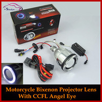 Wholesale Bi Xenon Projector Lens Light - Wholesale-New Motorcycle Headlights Angel Eye Halo Eyes HID Bi-xenon Projector Lens Retrofit Xenon Headlamps Lights Kit 4300K 6000K 8000K