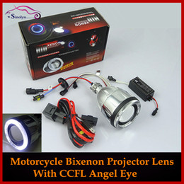Wholesale Hid Projector Motorcycle - Wholesale-New Motorcycle Headlights Angel Eye Halo Eyes HID Bi-xenon Projector Lens Retrofit Xenon Headlamps Lights Kit 4300K 6000K 8000K