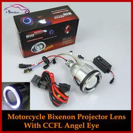 Wholesale Motorcycle Headlight Lenses - Wholesale-New Motorcycle Headlights Angel Eye Halo Eyes HID Bi-xenon Projector Lens Retrofit Xenon Headlamps Lights Kit 4300K 6000K 8000K