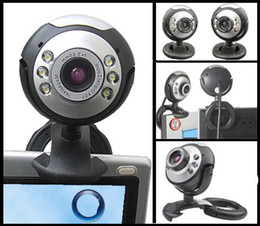 Wholesale Laptops Built Camera - Mini USB Webcam web camera 12.0MP USB camera 6 LED light For PC Laptop computer Mic Built-in microphone computers
