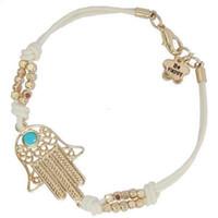 alliage hamsa à la main achat en gros de-Mode Alliage Perles Main de Fatima Finger Hamsa Bracelet pour Femmes Bijoux En Gros Mens Turquoise Evil Eye Cuir Bracelets