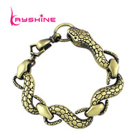 Wholesale celtic tribal - Steampunk Style Snake Shape Gold Silver Bronze Chain Bracelet For Women Tribal Bracelet New