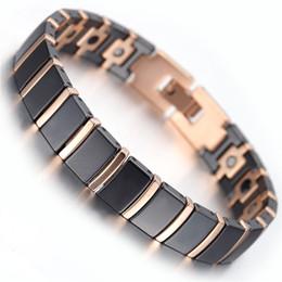 "Wholesale Rose Gold Tungsten - Mens Tungsten Bracelet, Rose Gold & Black, 7.9"" kb1497"