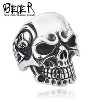 Wholesale Band Skulls - Wholesale-Drop Ship 2015 Fashion Ring Stainless Steel Rings For Man Big Tripple Skull Ring Punk Biker Jewelry BR8-068
