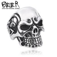 Wholesale Stainless Steel Skull Jewelry Wholesale - Wholesale-Drop Ship 2015 Fashion Ring Stainless Steel Rings For Man Big Tripple Skull Ring Punk Biker Jewelry BR8-068