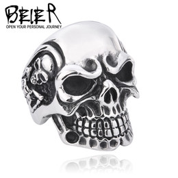Wholesale Punk Jewelry For Men - Wholesale-Drop Ship 2015 Fashion Ring Stainless Steel Rings For Man Big Tripple Skull Ring Punk Biker Jewelry BR8-068