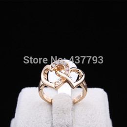 Wholesale Korean Ring Band Designs - Wholesale-Wholesale New Jewelry 18K Gold Plated Unique Korean Design Rhinestone Double Hearts Finger Ring High Quality R410