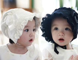 Wholesale Summer Bonnets - Baby Girls Bonnets Patterns Spring Summer Hats Caps Baby's White Pink Black Bonnets Bonnet BABY EASTER BONNETS FOR BABIES