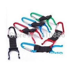 Wholesale Belt Buckle Key Chain - Wholesale-10pcs lot Folder water bottle Holder hanging Button hang buckle Hook Belt Clip Carabiner Key Chain buckles Strap freeship O030