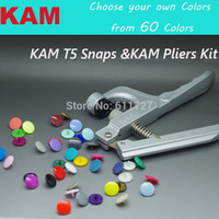 Wholesale Kam Diapers - Wholesale-{60 Colors for option 12 Colors Mixed } KAM 150 sets 12mm T5 20 Glossy Plastic Snap Button Fastener &1 KAM Pliers Kit Diaper