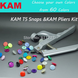 China Wholesale-{60 Colors for option 12 Colors Mixed } KAM 150 sets 12mm T5 20 Glossy Plastic Snap Button Fastener &1 KAM Pliers Kit Diaper supplier kam snaps buttons suppliers