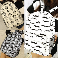 Wholesale Mustache School Bags - P181 Women Tiger,Owl,Mustache Printing Cartton Pattern Bag Canvas School Bags Preppy Style Backpack White Black School Backpacks