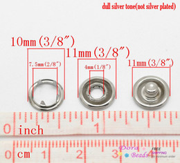 Wholesale-100 Sets Silver Tone No Sew Open Ring Snap Press Fastener Buttons 11mmx4mm 11mm 10mmx4mm (B19512)8seasons