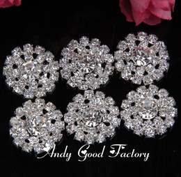 Wholesale Wholesale Rhinestone Buttons For Headbands - Wholesale-20pcs 20mm Round Silver Rhinestones Buttons Flatback Crystal Decorative Button for Children Headband Kids Hair Accessories PZ010