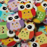 Wholesale Wooden Buttons Wholesale - Wholesale-New Fashion 100pcs 2 Holes Colorful Lovely Owl Pattern Wooden Buttons Sewing Scrapbooking Accessories 25mm
