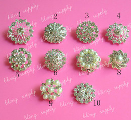 Wholesale Rhinestones Accessories For Hair Buttons - Wholesale-Free shippig MIX Style rhinestone button embellishment with shank for hair bow center 100PCS LOT(Z-1)