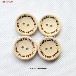 "Wholesale Wholesale Unfinished Wood Crafts - Wholesale-100pcs 'made with love' Unfinished natural wooden button crafts supplies sewing wood button 25mm,1""-AD0115B"