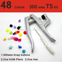 Wholesale Quilt Setting Kit - Wholesale-( 300 Sets +KAM Pliers ) 60 Colors For Option KAM T5 20 12mm Snap buttons Snap Fastener with One KAM Pliers Kit Mix Colors