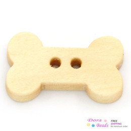 Wholesale Sewing Buttons Bone - Wholesale-Wood Sewing Buttons Scrapbooking Dog Bone Natural 2 Holes 18x10mm,100PCs (B24239)8seasons