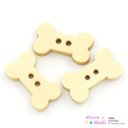 Wholesale Dog Buttons Sewing - Wholesale-Wood Sewing Buttons Scrapbooking Dog Bone Natural 2 Holes 18x10mm,100PCs (B24239)8seasons