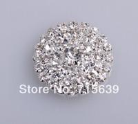 adornos de diamantes de imitación al por mayor-Envío al por mayor-libre Adorno de diamantes de imitación con espalda plana 25mm 20pcs / lot color plata utilizado en la boda