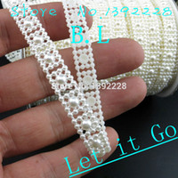 Wholesale Pearl Flatback Roll - Wholesale-Flatback Plastic Pearl Trim 10mm Flat Back Half Round Pearls Beads Trims Roll Chain Strings Sew Craft Bridal Wedding Accessories