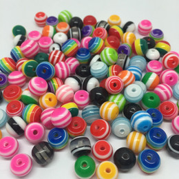 Wholesale Striped Resin Beads Wholesale - Wholesale-500pcs 8MM Multi Striped Ball Beads Round Resin Stripes Spacer Loose Bead For DIY Jewelry Beading Hair Bracelet Keychain Making