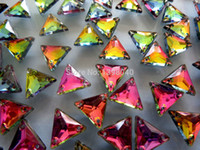 Wholesale Bags Loose Beads - Wholesale-Free shipping multi -color sew on stones crystal 12mm loose bead gemstones rhinestone strass triangle shape 150pcs bag