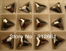 Wholesale Triangle Shaped Beads - Wholesale-Free shipping (54pcs per lot) Jet hematite coated glass sew on stone 16mm in triangle beads shape w3270