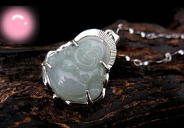 Wholesale Silver Jade Buddha Pendants - Tian ! ( Buddha ) Natural Jade Emerald + 925 Silver Edge Buddha Pendant Necklace