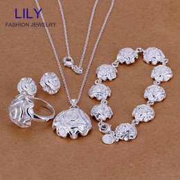 Wholesale Wholesale Bridal Wedding Rings Sets - S296 Wholesale Bijoux Women Bridal Jewelry Sets Plated Silver 925 Fashion Necklace + Earrings + Bracelets +Rings Jewellery Set
