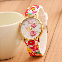 Wholesale Geneva Silicone Print Watches - Wholesale-Fashion Brand New Watch Women Bright Geneva Flower Printed Silicone Analog Quartz Watch Gift Relojes Mujer Montre Femme