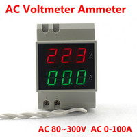 Wholesale Display Digital Ac - Din rail Dual LED display Voltage and current meter Din-rail voltmeter ammeter range AC 80-300V 0.1-99.9A